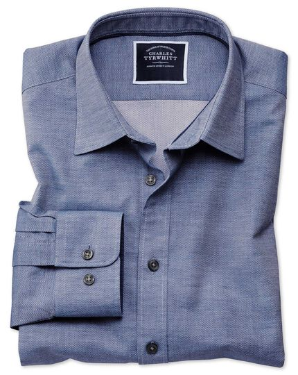 Classic fit blue soft textured shirt