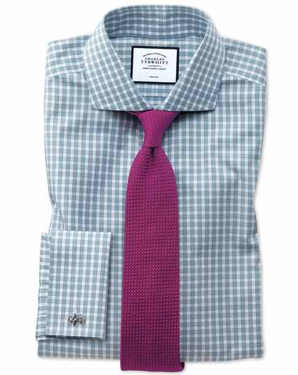 Extra slim fit non-iron twill gingham teal shirt