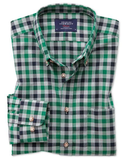 Extra slim fit button-down non-iron twill green and navy blue gingham shirt