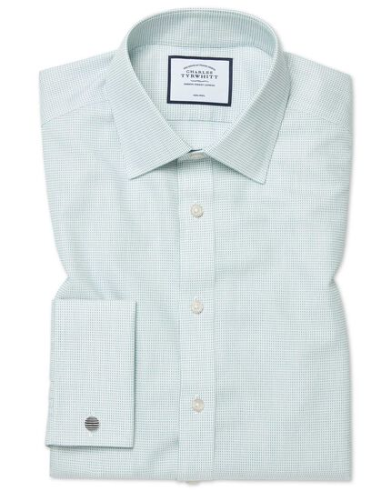 Classic fit non-iron dash weave green shirt