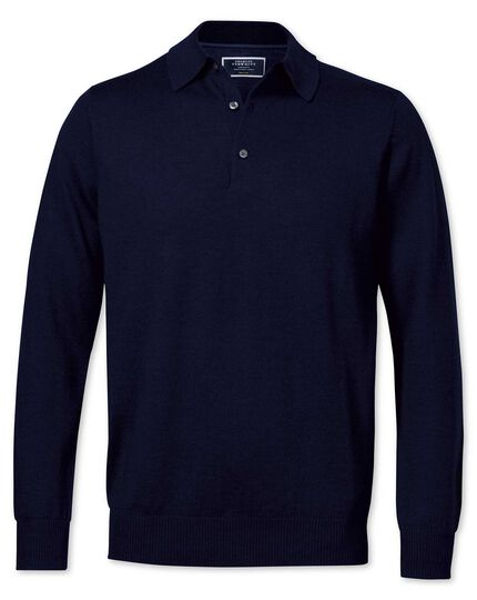 Navy merino wool polo neck sweater