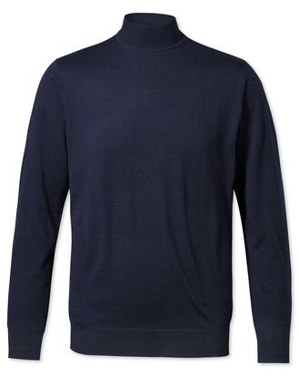 Navy mock turtleneck merino sweater