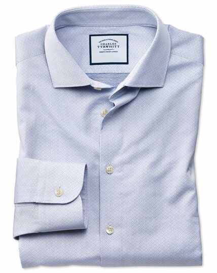 Classic fit business casual blue diamond dobby shirt