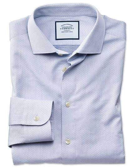 Slim fit business casual blue diamond dobby shirt