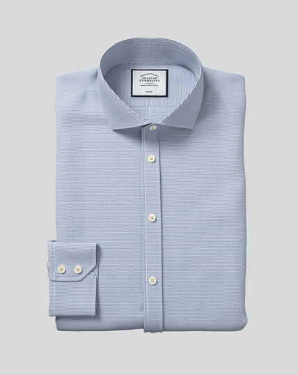 Spread Collar Non-Iron Dobby Shirt - Blue