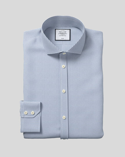 Spread Collar Non-Iron Dobby Shirt - Blue
