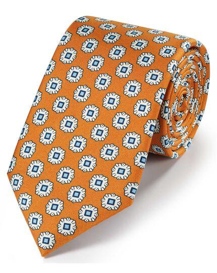 Cravate classique dorée en soie avec imprimé géométrique