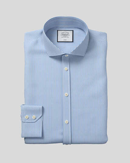 Spread Collar Non-Iron Bengal Stripe Shirt - Sky