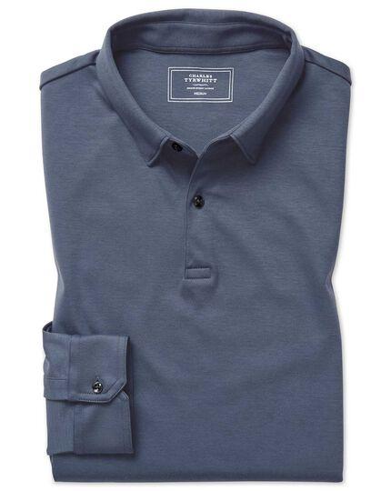 Polo à manches longues en jersey bleu acier