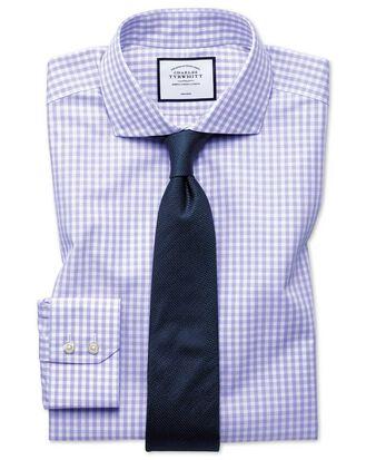 Extra slim fit non-iton purple check Tyrwhitt Cool shirt