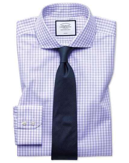 Extra slim fit non-iron purple check Tyrwhitt Cool shirt