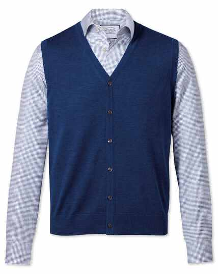 Royal blue merino vest