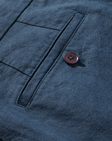Airforce blue classic fit cotton linen pants
