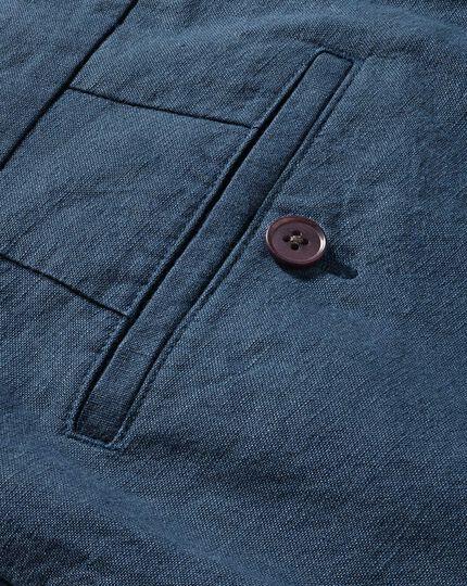 Airforce blue classic fit cotton linen pants