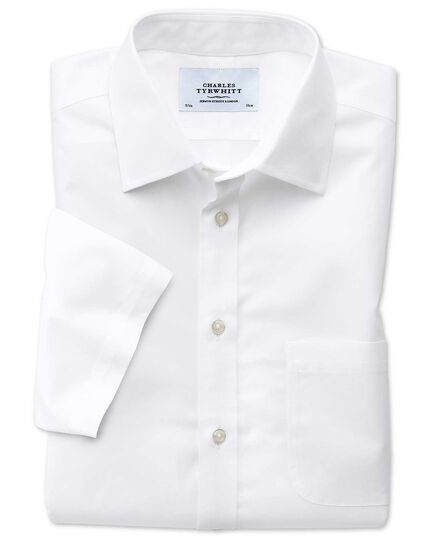 Classic fit non-iron poplin short sleeve white shirt