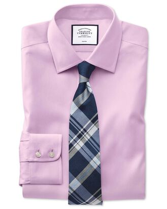 Slim fit non-iron pinpoint Oxford pink shirt