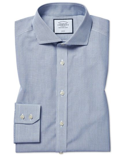 Slim fit non-iron Tyrwhitt Cool poplin check blue shirt