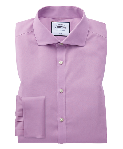 Extra slim fit non-iron cutaway collar violet poplin shirt
