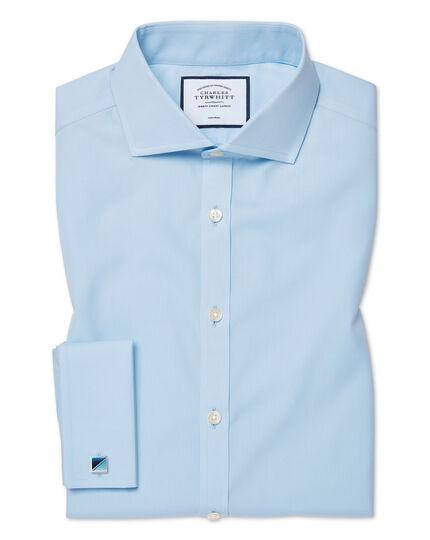 Extra slim fit sky blue non-iron poplin cutaway shirt