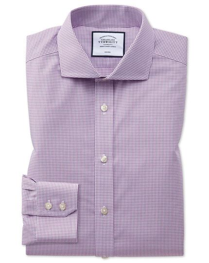 Extra slim fit non-iron natural cool pink check shirt