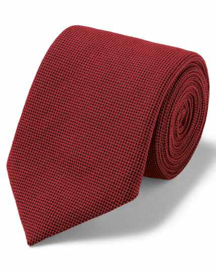 Red plain wool silk luxury Italian tie