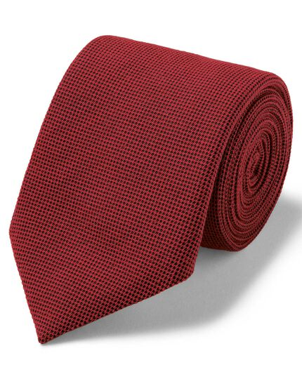 Red plain wool silk Italian luxury tie
