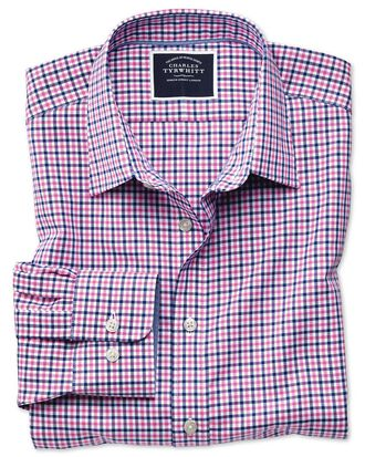 Extra slim fit non-iron pink and navy gingham Oxford shirt