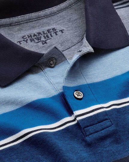 Bunt gestreiftes Piqué-Oxford-Polohemd in Blau