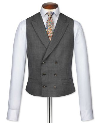 Dark grey adjustable fit morning suit waistcoat