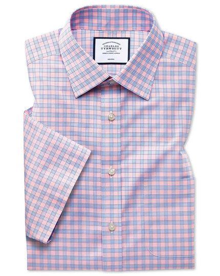 Kurzärmeliges Popelinehemd Slim Fit Bügelfrei Tyrwhitt Cool mit Karos in Rosa