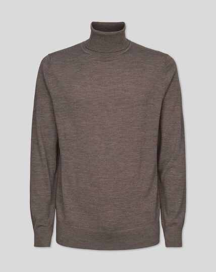 Merino Roll Neck Jumper - Mocha