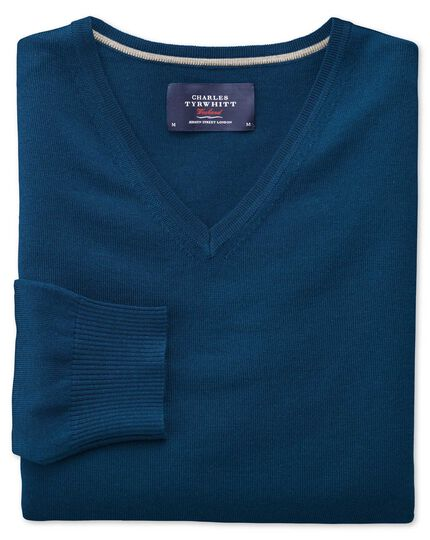 Blue merino wool v-neck sweater