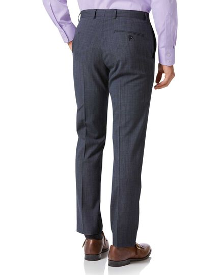 Airforce blue check slim fit twist business suit trousers