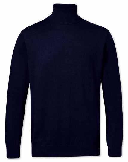 Pull bleu marine en laine mérinos à col roulé