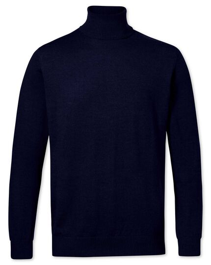 a8a6acac0545 Navy merino wool roll neck jumper