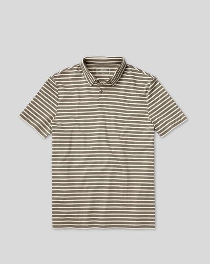 Smartes Jersey-Polo mit Streifen - Mokka&Weiß