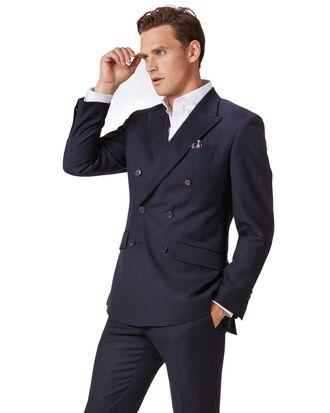 Veste de costume business bleu marine en twill slim fit à boutonnage double