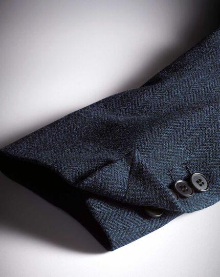 Slim fit blue herringbone wool jacket