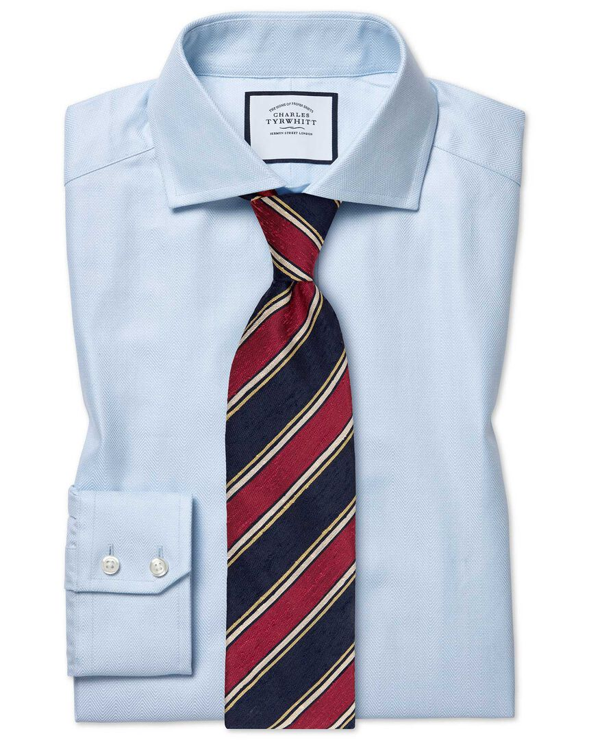 Extra slim fit cutaway collar cotton stretch with TENCEL™ blue shirt