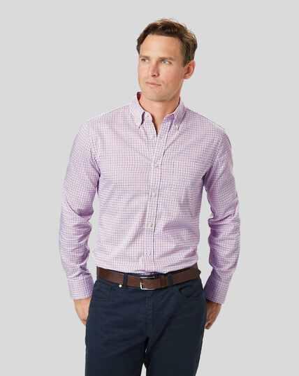 Button-Down Collar Non-Iron Oxford Check Shirt - Orange & Blue