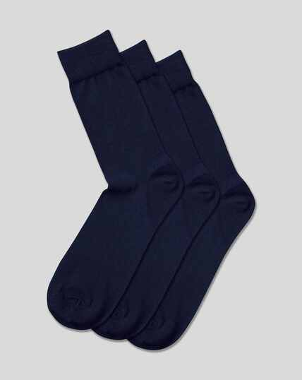 Cotton Rich 3 Pack Socks - Navy
