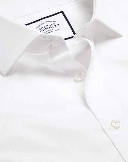Spread Collar Egpytian Cotton Poplin Shirt - White