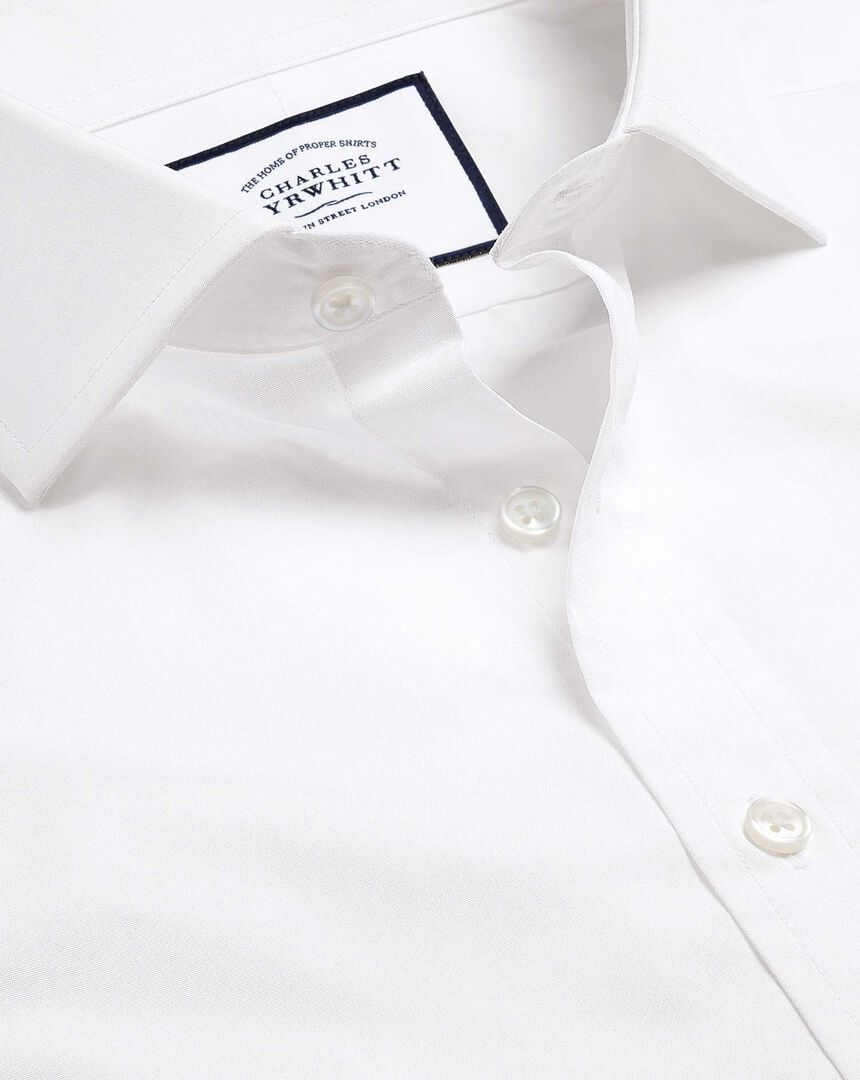 Cutaway Collar Egyptian Cotton Poplin Shirt - White