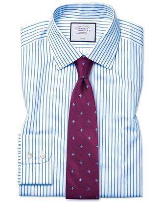 Classic fit non-iron sky blue stripe twill shirt