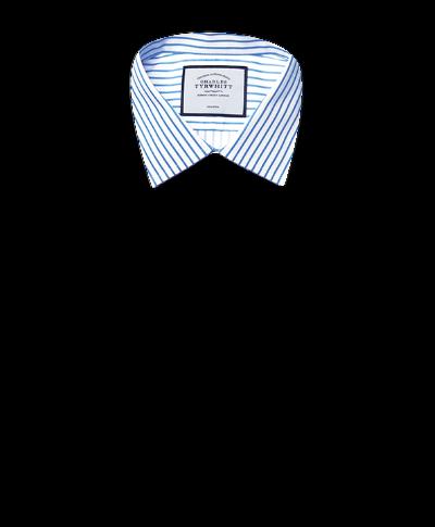 Slim fit non-iron sky blue stripe twill shirt