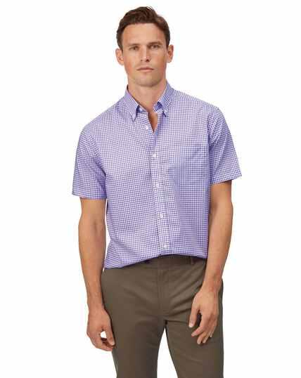 Geblokt lila strijkvrij stretchpopeline overhemd met zachte wassing en korte mouwen, klassieke pasvorm