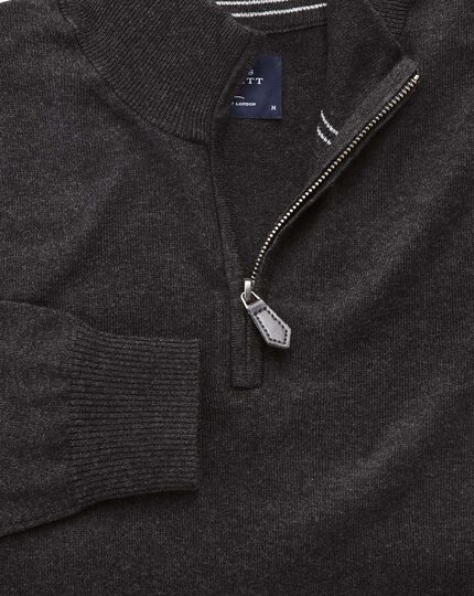 Charcoal cotton cashmere zip neck jumper