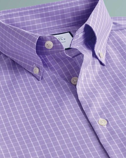 Slim fit business casual non-iron button-down lilac shirt