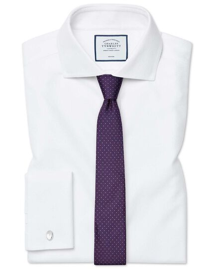 Purple and white spot silk slim tie