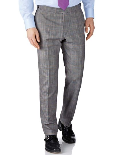 Grey check slim fit British Panama luxury suit trousers